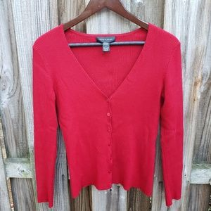 Cable and Gauge red silk cardigan